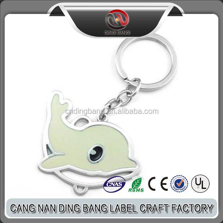 Promotional Custom Souvenir Metal Keychain Enamel Paint Zinc Alloy Metal keychain Cute Animal Dolphin Shape keychain