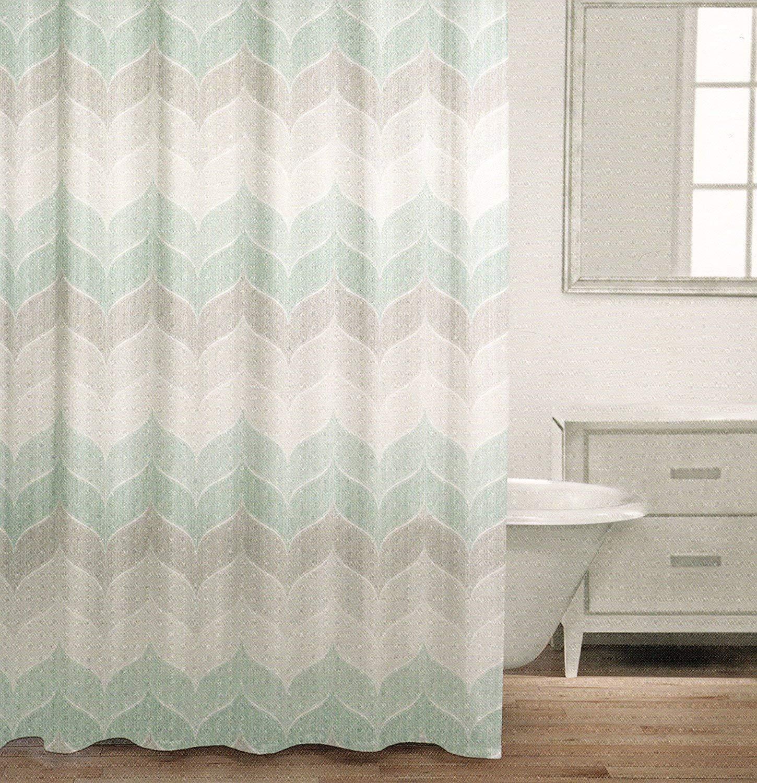 Caro Home 100% Cotton Shower Curtain Wide Stripes Chevron Fabric Shower Curtain Zig Zag White Taupe Grey Beige Gray Tweed Herringbone Design (Turquoise)