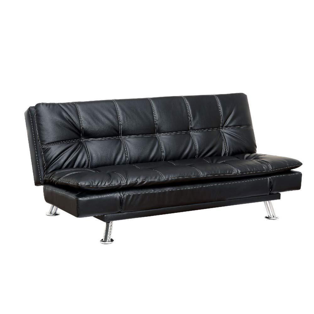 Black Leatherette Furniture of America Wilhelm Futon Sofa