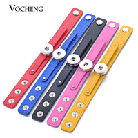10pcs/lot Wholesale Vocheng Snap Charms 10 Colors PU Leather Bracelet Fit 18mm gingersnaps NN-388*10 Free Shipping