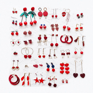 INFANTA JEWELRY Hot Love Red Earrings Flowers Red Cherry Love Heart Hair Ball Bridal Jewelry Set Wedding New Year Earrings
