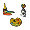 QIHE 3pcs/set Backpack shirt Accessories New Painting Tools Palette Paint Tube Brush Cartoon Brooch Rainbow Art Enamel Pin