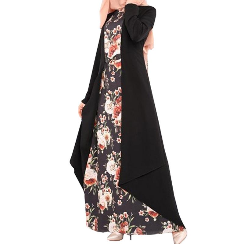 Muslim style print stitching two-piece dress Long Sleeve O-neck Women Dress Robe With Flower Print фото