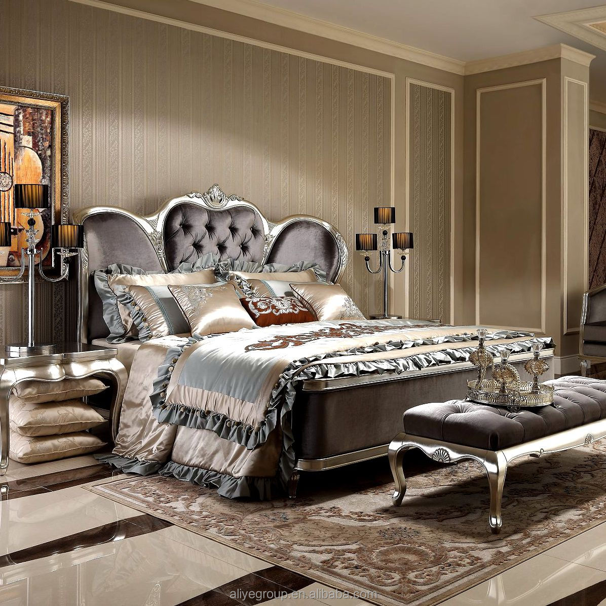 Als05b-french Baroque Design Wooden Bedroom Furniture Set King Size Bed/  Palace Royal Classic Bedroom Bed Set - Buy Antique French Style Luxury ...