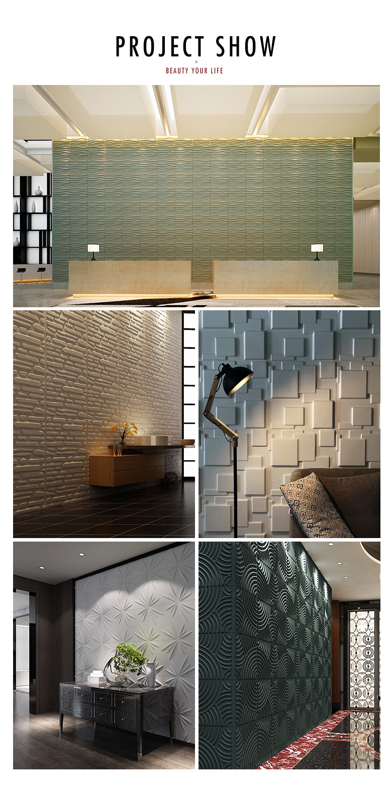 Fire resistant decorative 3d pvc wall panel /UV proof 3D plastic wall panel / on sale pvc 3D wall panel with low price
