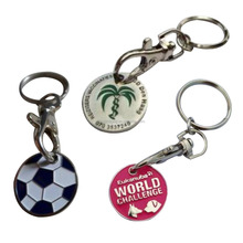 Shopping Cart Coin Keychain Game Trolley Coin Keyring Token Coin