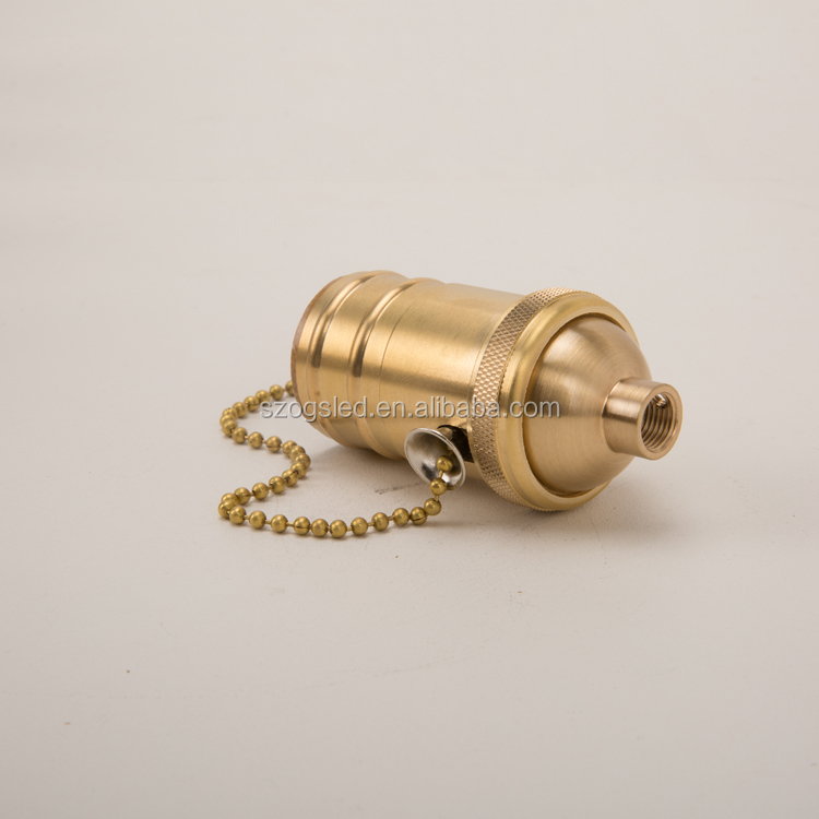High Quality E26 E27 Polishing Brass LED Lamp holder with Zipper Switch