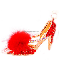 New Arrive Best Quality Crystal Gifts Souvenirs Rhinestone High-Heeled Shoes Zinc Alloy Keychain Crystal KeyChain