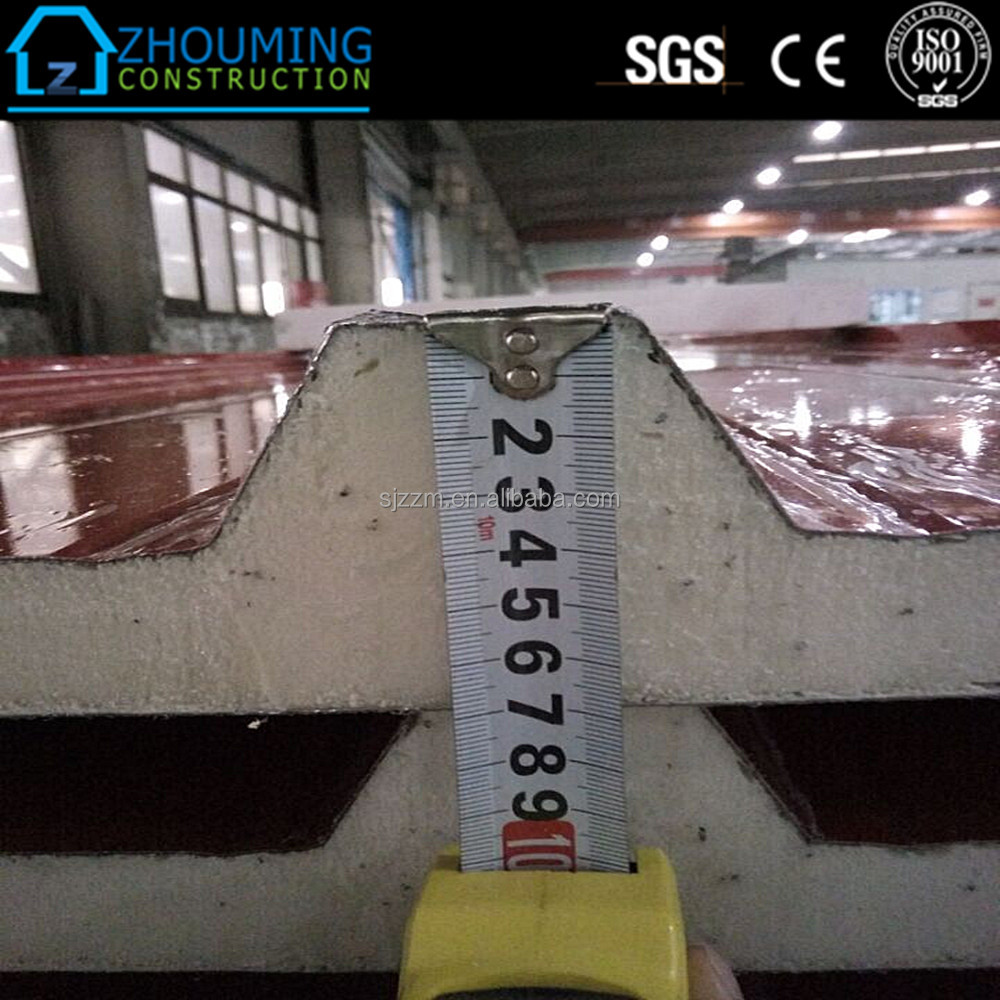 Prefabricated insulation Poly Urethane aluminum roof sandwich panel china