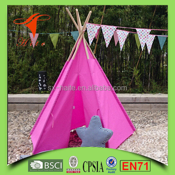 Eco Friendly Wood Pop Up Teepee Tent Kids Indoor Polyester Teepee & Eco Friendly Wood Pop Up Teepee Tent KidsIndoor Polyester Teepee ...
