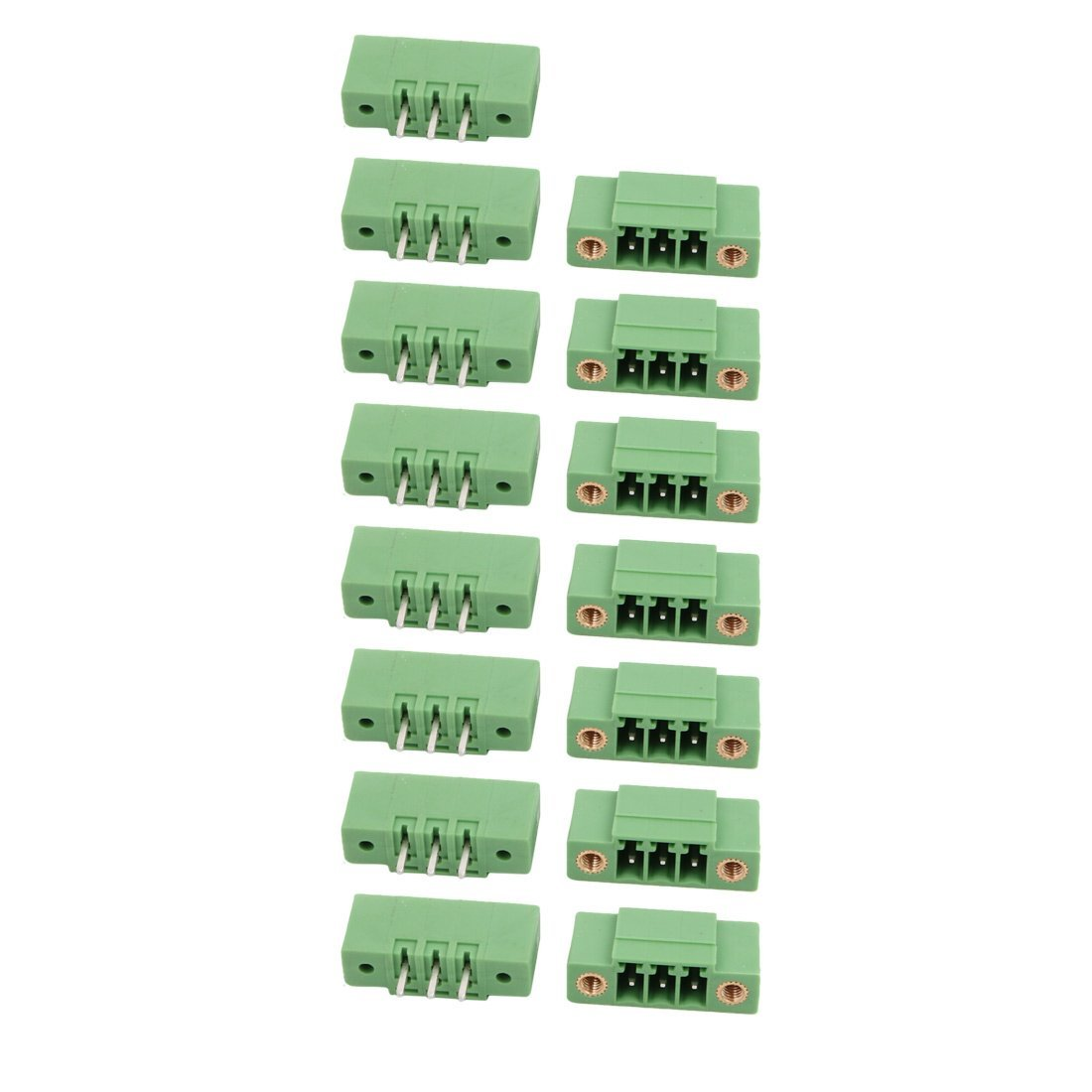 uxcell 15Pcs LZ1VM AC300V 8A 3.5mm Pitch 3P PCB Terminal Block Wire Connection