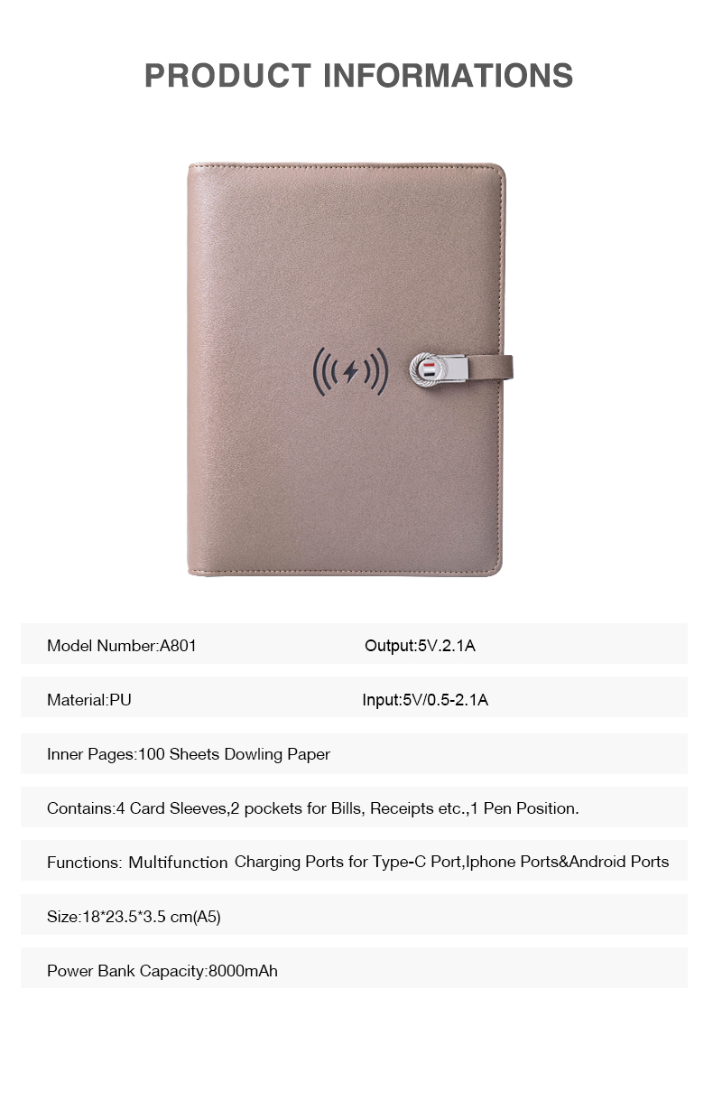 Custom Made Wireless Charging Notebook with Power Bank and USB