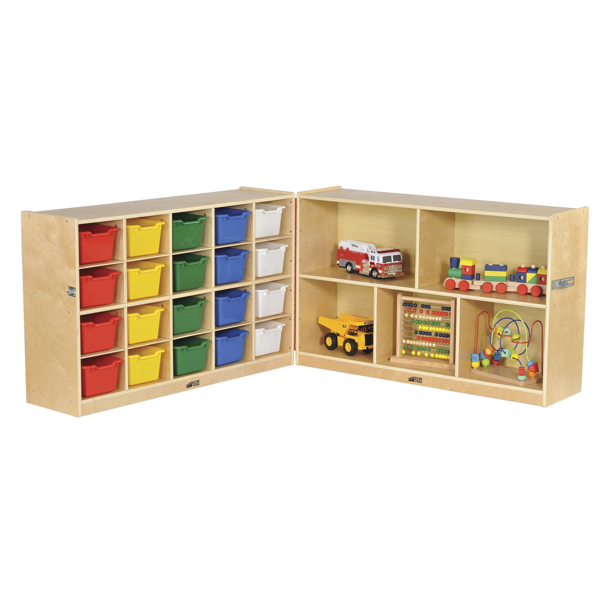 "ECR4Kids Birch Fold & Lock Storage Cabinet with 5 Cubbies/15 Trays, 15 Scoop Front Bins 30""H, Assorted"