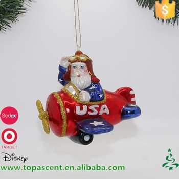 wholesale christmas decorations hand blown glass santa in aeroplane - Christmas Wholesale