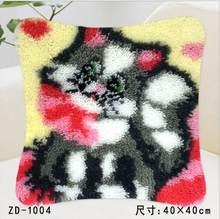 """Вышивка крестиком Подушка/салфетки """"сделай сам"""" метод рукоделия набор защелкивающийся крючок Набор ковриков/Вышитая Подушка ZD665 кошка(Китай)"""