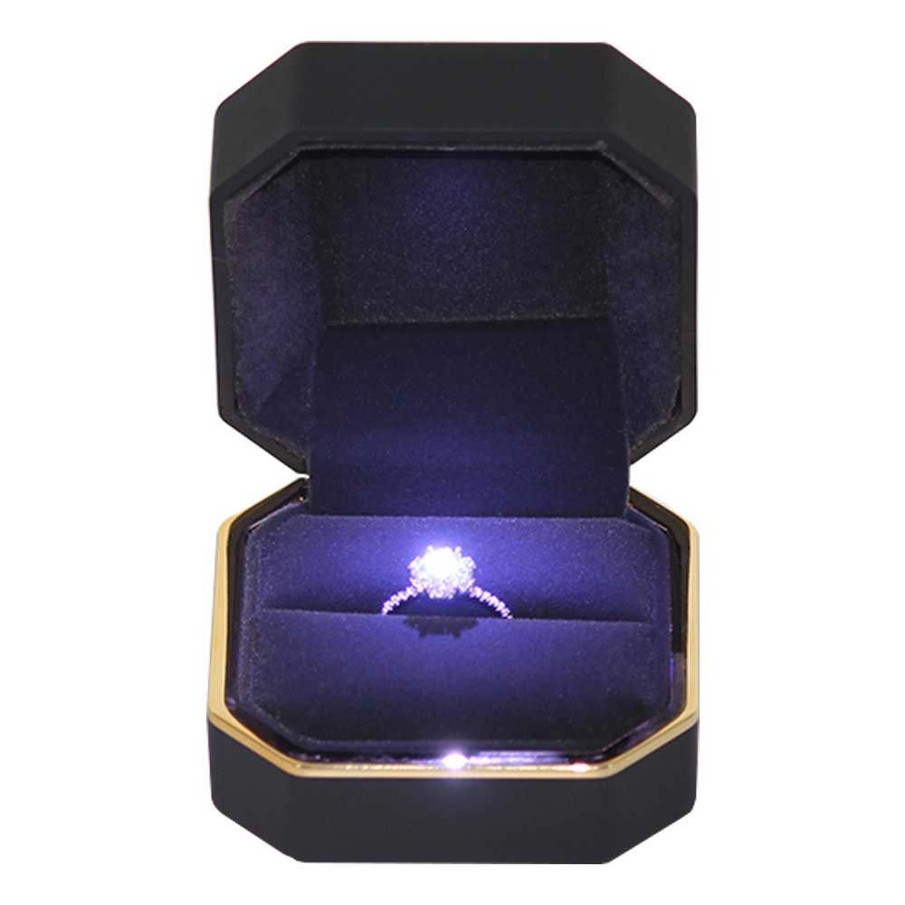 Hot selling small plastic jewelry  ring box with led light