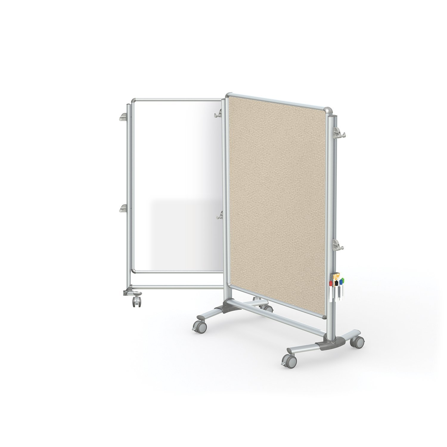 "Ghent 57-3/8"" x 40-3/8"" Nexus Jr. Partition, Magnetic Whiteboard/Bulletin Board, Double-Sided (NEX223MFP-90)"