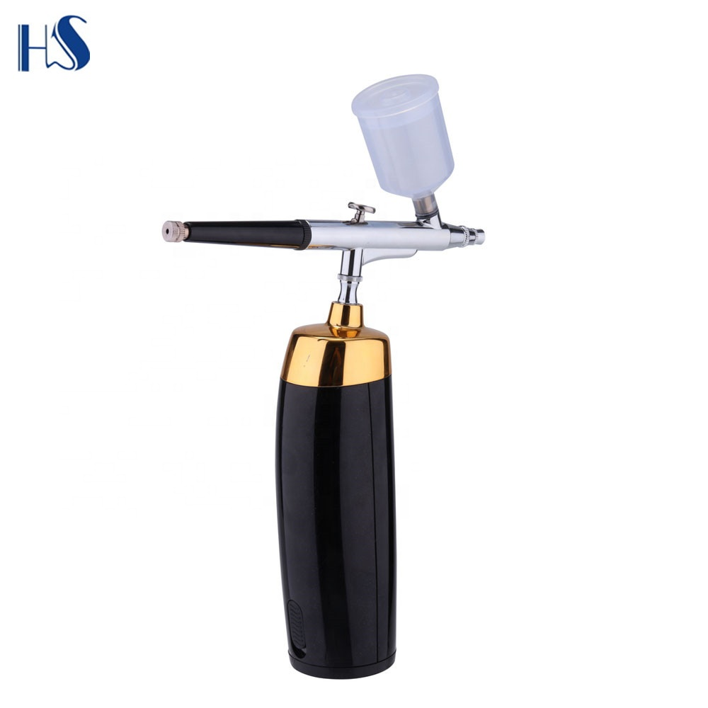 Cordless rechargeable wireless mini Battery air compressor airbrush makeup kit with battery