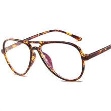 Модные ретро очки в стиле пилота, оправа для женщин и мужчин, большие оправы для очков, прозрачные линзы, поддельные очки(Китай)