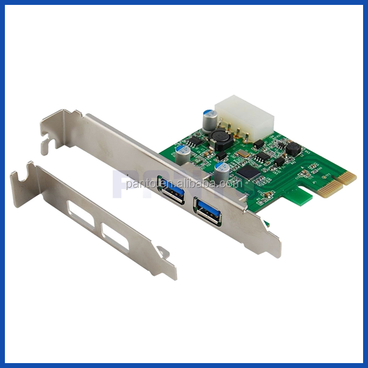 PCI-e external 2 ports USB 3.0 header card with 4 pin Molex Power Port + Low Profile Bracket