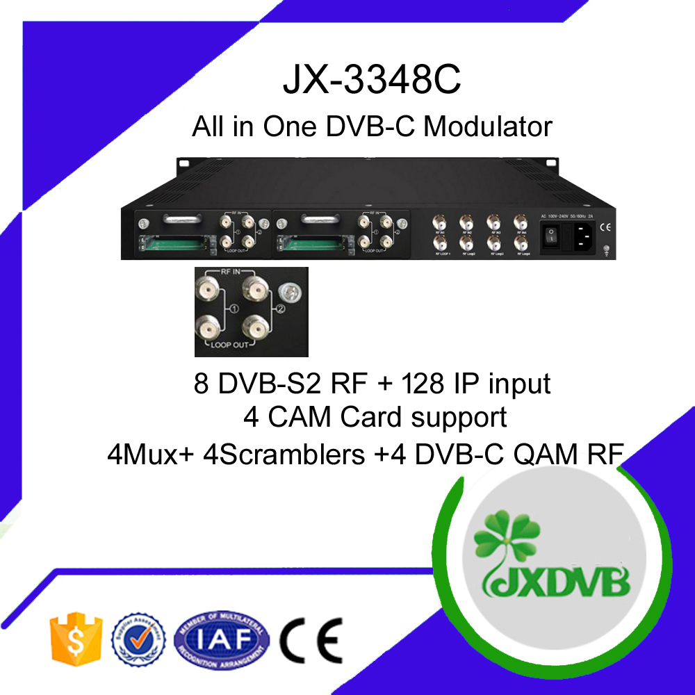 8 AV Channels MPEG2 H.264 To DVB C RF Modulator