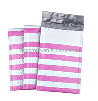 4x8 Inches Poly Bubble Mailers Stripe Padded Envelopes Pink Pack of 50
