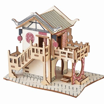 High quality wholesale custom laser cut toy DIY painting 3d wooden puzzle house
