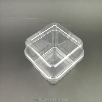 Wholesale PET cake packaging clear square plastic box with lid