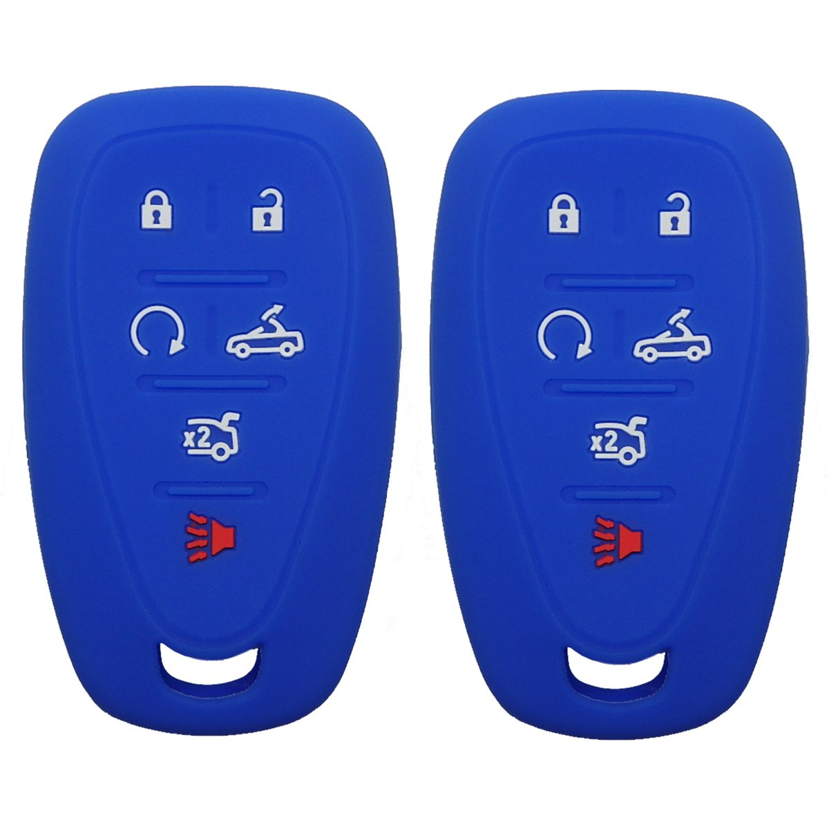 2Pcs Coolbestda Silicone 6Buttons Smart Key Cover Remote Fob Case Keyless Entry Protector for 2016 2017 Chevrolet Camaro HYQ4EA Blue