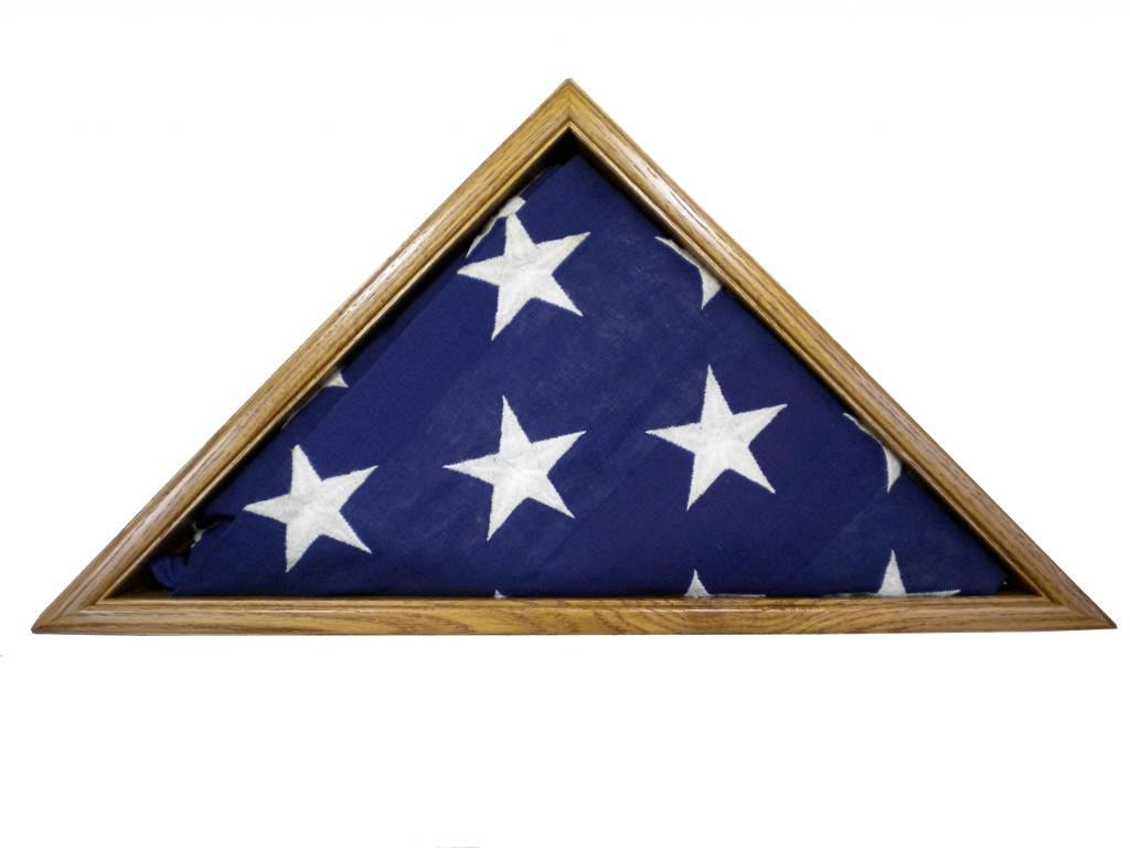 Light Oak Flag Display Case, 5x9.5' Solid Oak Memorial Burial Flag, USA Made, Fine Furniture Quality