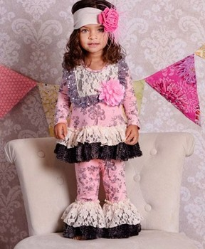 Boutique Mustard Pie Remake Baby Garment Clothes Sets Little Girl Pink  Damask Ruffled Sets American Gilrs 671a1c4e15
