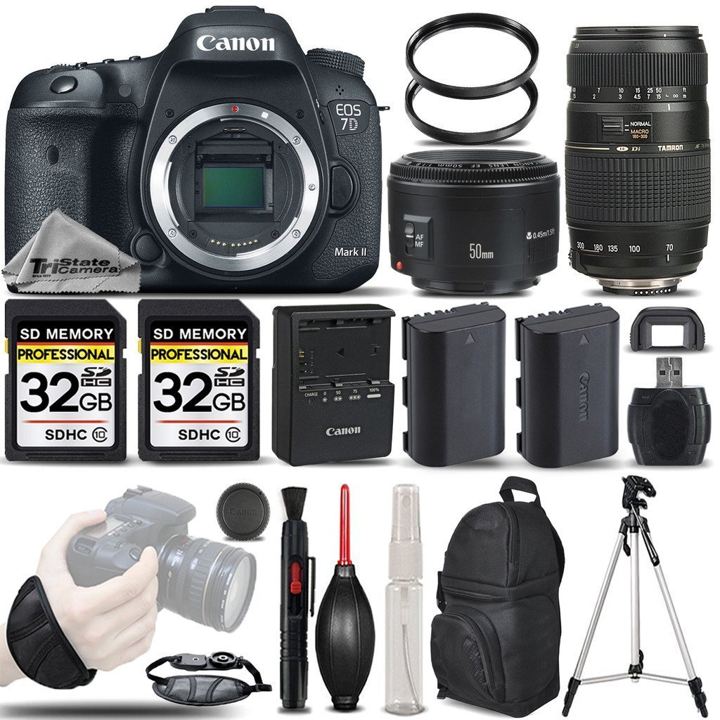 Canon EOS 7D Mark II Digital SLR Camera Body + Canon 50mm 1.8 II Lens + Tamron 70-300mm Lens+ Backup Battery + 2 Of 32GB Memory Card. All Original Accessories Included - International Version