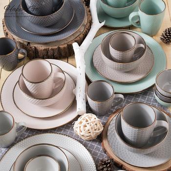 Heißer Verkauf Neue Design Geschirr 16 Stücke Runde Form Präge Keramik Set
