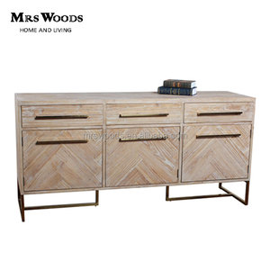 Stainless steel base reclaimed wood solid wooden sideboard