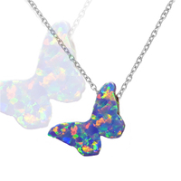 Hot 925 Sterling Silver Jewelry Necklace Opal Butterflies Pendant Sexy Neck Choker