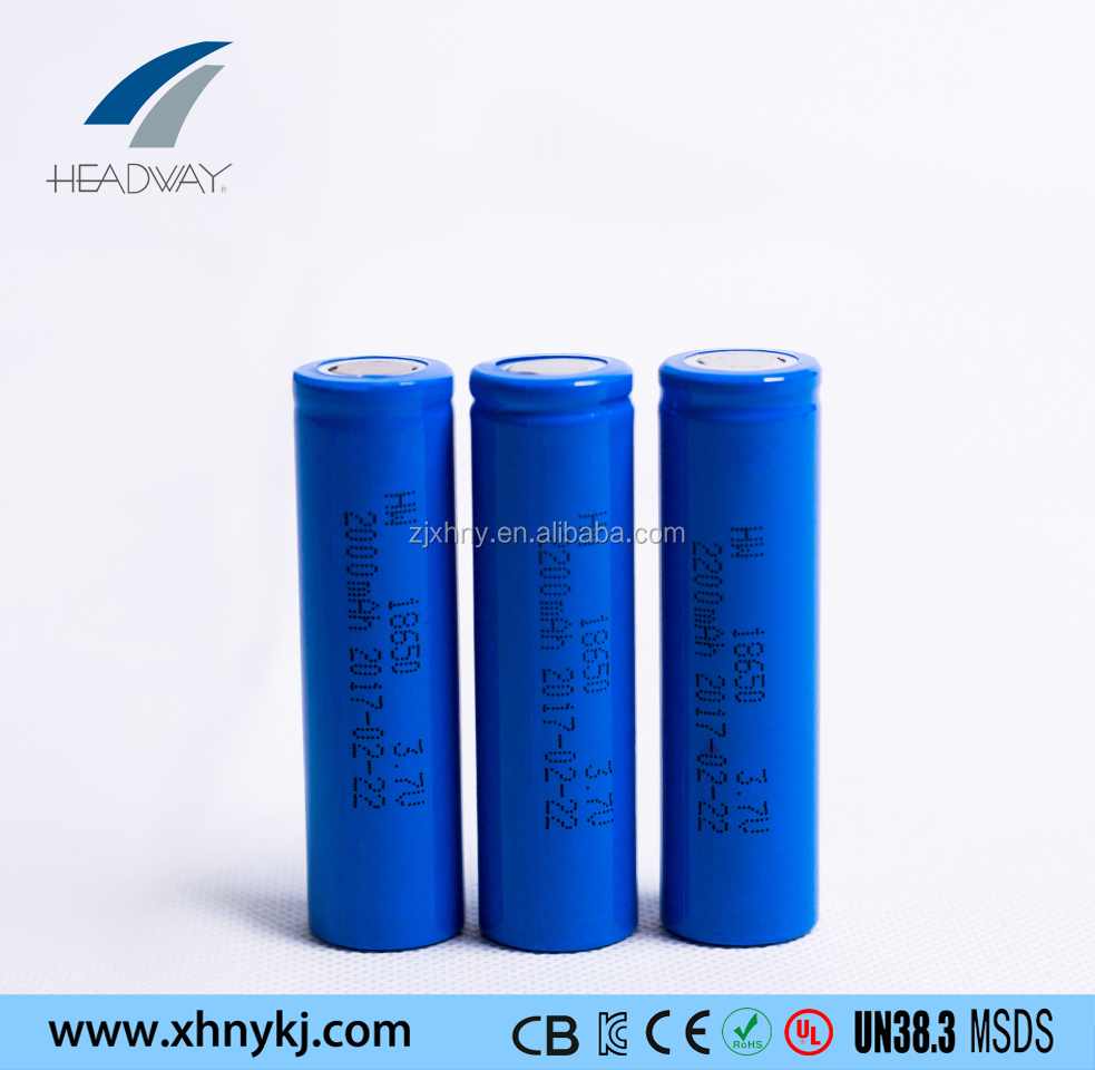 Headway li-ion NMC battery 18650 3.7v 2000mah li-ion cell for rechargable lamp
