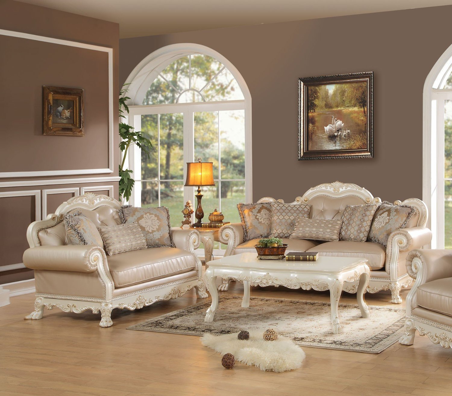 Get Quotations · 1PerfectChoice Dresden 2Pcs PU Antique White Sofa Set With  Pillows