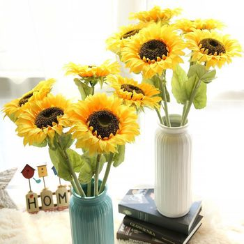 Newest Product Office Decorative Silk Big Head Artificial Sunflower