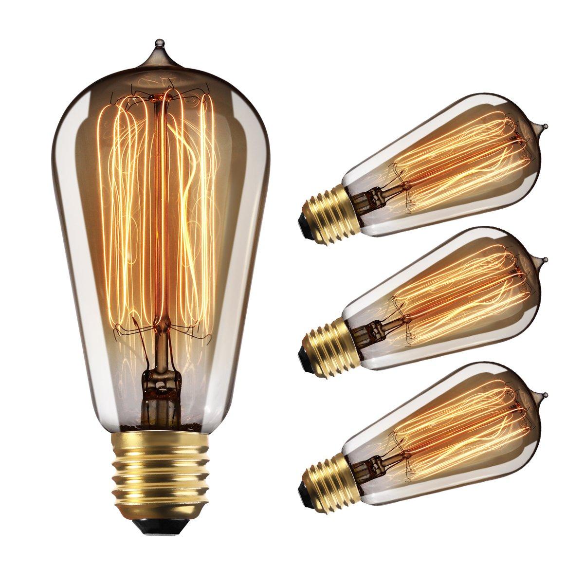 Edison Bulbs Dimmable, YUNLIGHTS 60W Vintage Light Bulbs, Thomas Antique Retro Old Filament Bulb, E26 ST58 110-130V 2500-2700K Warm White, 4 Pack