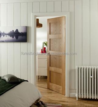 Shaker White Oak 4 Panel Door For Bedroom, Crown Cut Veneer Door