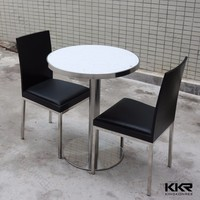Veining marble quartz top round diner table