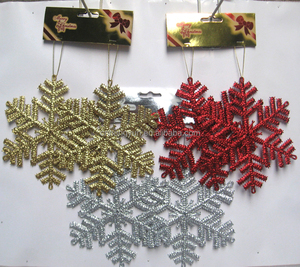 Hot Sale christmas tree Snowflakes plastic christmas plastic glitter hanging snowflake ,christmas decorations