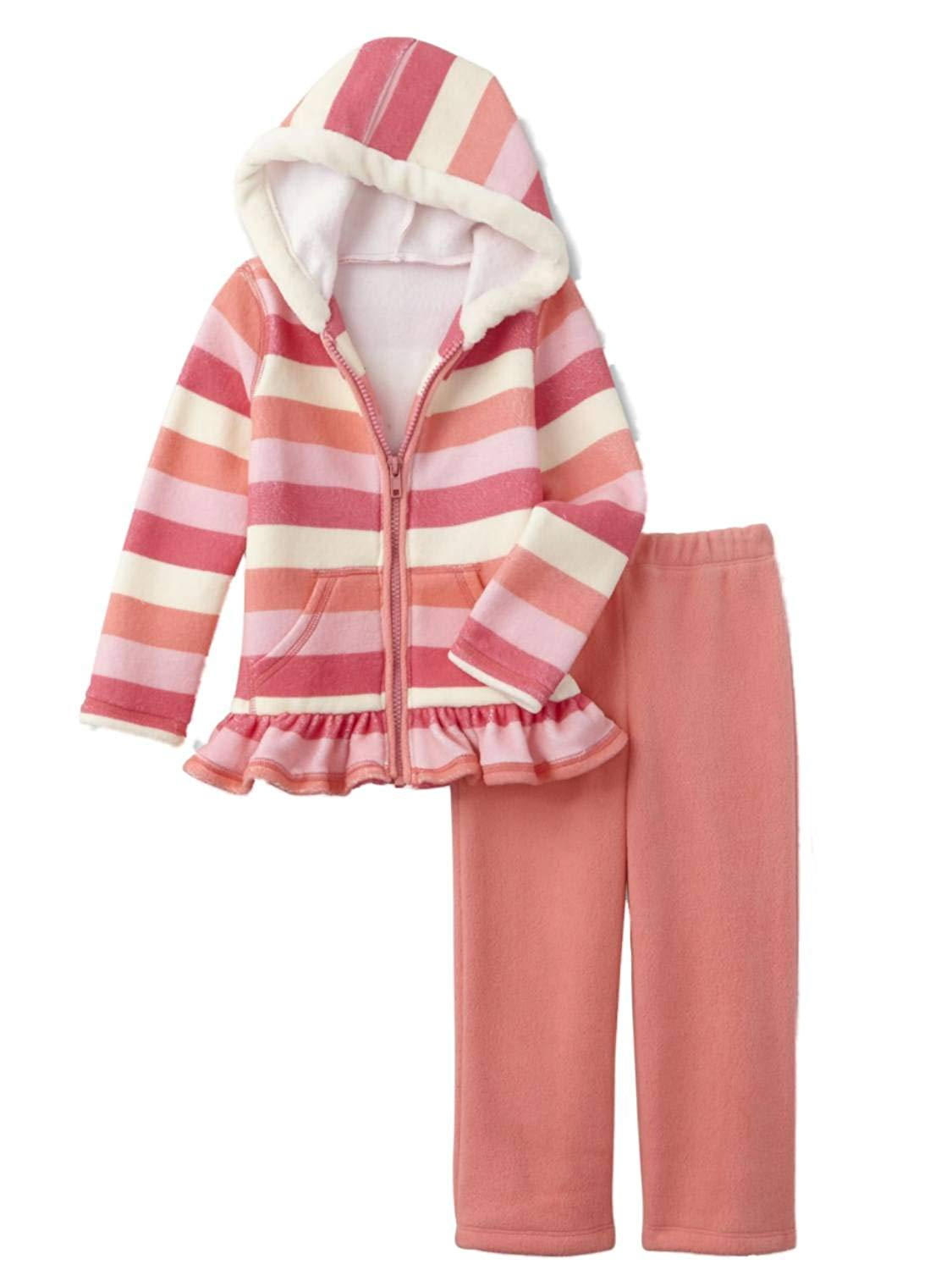 Young Hearts Infant Girls Pink & Peach 2 Piece Set Coral & White Hoodie & Leggings Outfit