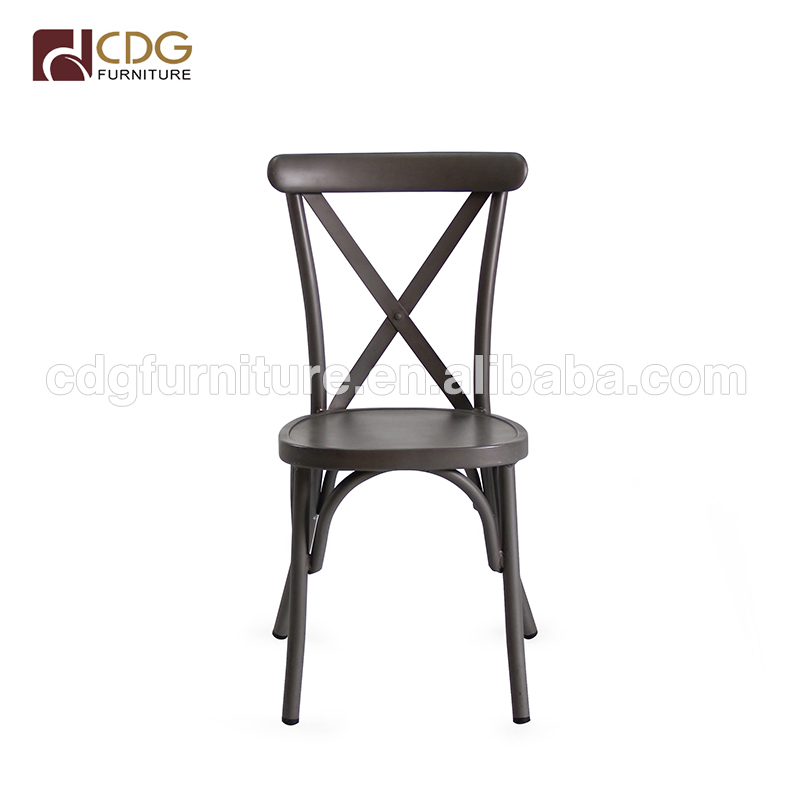 Industrial style antique aluminium rental party dining room cross chair