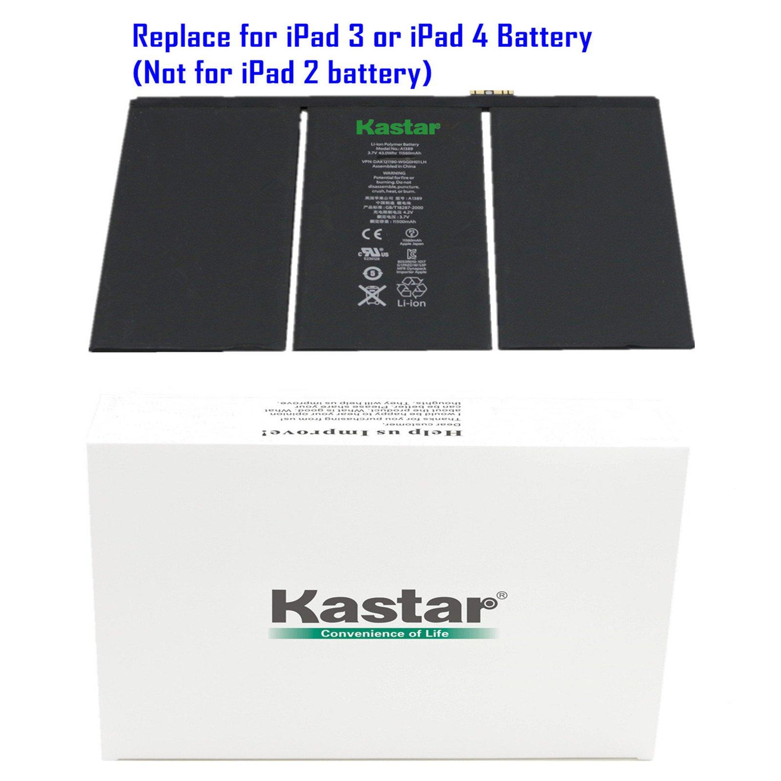 Kastar Battery for Apple iPad 3 (3rd Generation iPad) and iPad 4 (4th Generation iPad) Replacement Internal Battery 3.7v 43.0WHr 11560mAh Fixes for iPad 3 iPad3 and iPad 4 iPad4
