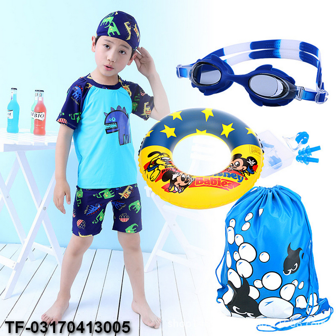 Little Dinosaur Swimwear Boy 3Pieces Swimsuit with Swimming Cap Blue Green Bathing Suit for Kids Short Sleeve Swimming Suit