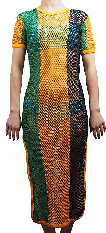 Get Quotations Crystal Las Stripe Strech Rasta Maxi Dress Cover Up Cotton String Mesh Fishnet Side Splits