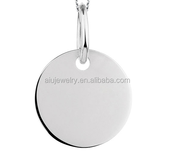 316l stainless steel disc pendant , Blank pendant workable to engraving