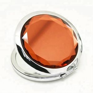 Shiny Round Crystal Compact Cosmetic Metal Double Sides Mirror with Engraved Lovely Name Pocket Mirror