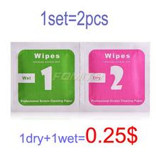 2pcs/set=1*Wet+1*Dry Camera Lens LCD Screens Dust Removal Wet Dry Cleaning Cloth Wipes Papers for camera for phone